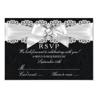 Black & White Damask & Pearl Bow RSVP Card