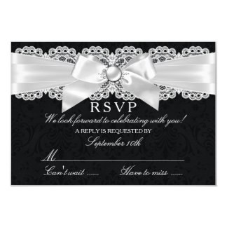 Black & White Damask & Pearl Bow RSVP 3.5x5 Paper Invitation Card
