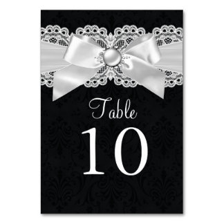 Black & White Damask & Pearl Bow Table Number Card