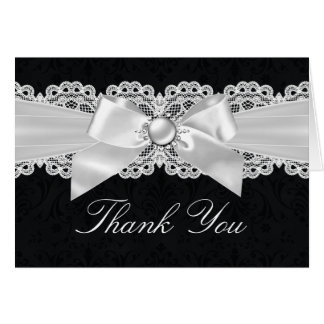 Black & White Damask & Pearl Bow Thank You Card