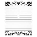Black & White Damask Personalized Matching Recipe Flyer
