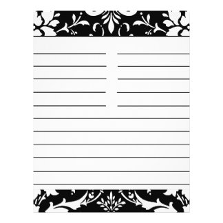"Black & White Damask Personalized Matching Recipe 8.5"" X 11"" Flyer"