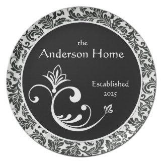 Black & White Damask Personalized Melamineware Dinner Plate