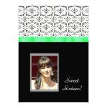 Black White Damask Photo Sweet 16 Birthday Invite