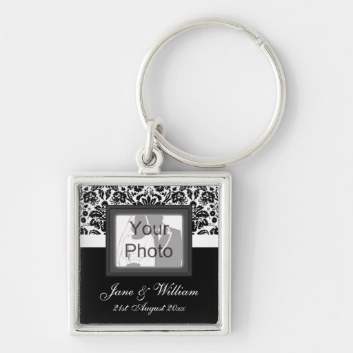 Black & White Damask Photo Template Wedding Favor Keychains
