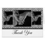Black & White Damask Photo Thank You Card