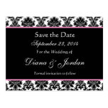 Black White Damask Pink Accents Save The Date Post Card