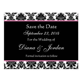 Black White Damask Pink Accents Save The Date Postcard