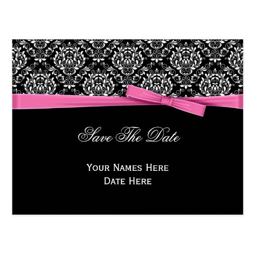 Black White Damask Pink Bow Ribbon Save The Date Post Cards