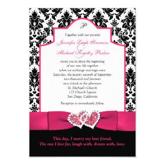 Black White Damask, Pink Glitter Hearts Invite 2