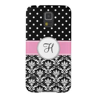 Black White Damask Pink Monogram Galaxy S5 Case