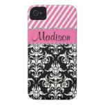 Black & White Damask / Pink Stipes Rhinestone Case iPhone 4 Cover