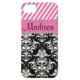 Black White Damask Pink Stipes Rhinestone Case iPhone 5 Case