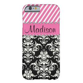 Black & White Damask / Pink Stipes Rhinestone Case iPhone 6 Case