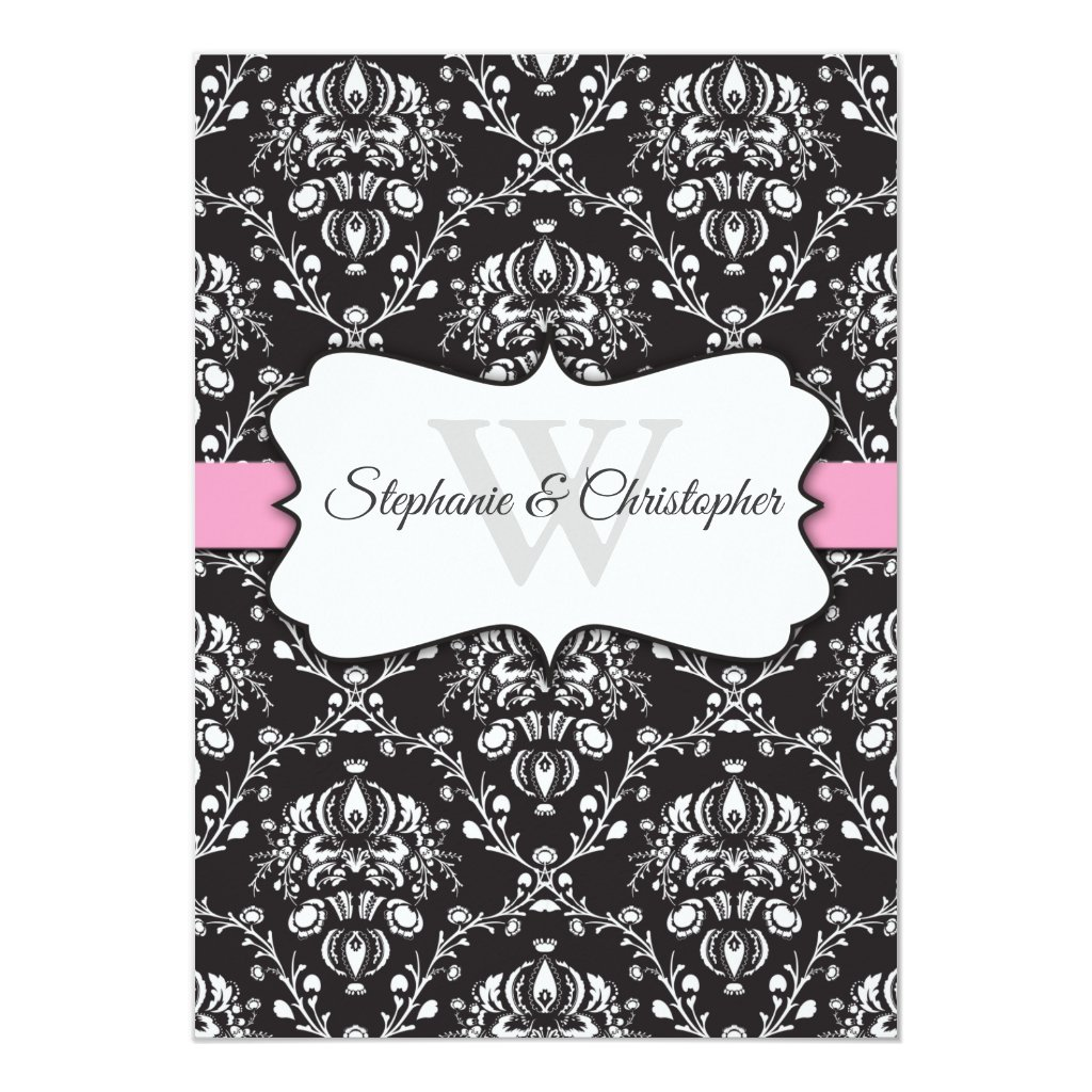 Black White Damask Pink Stripe Frame Wedding