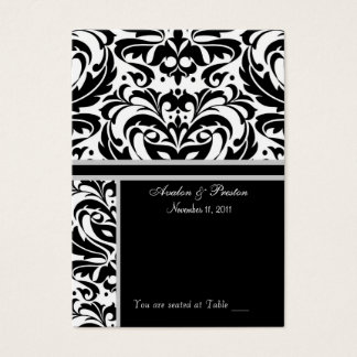 Black & White Damask  Placecard Business Card