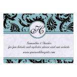 Black White Damask Pool Blue Trim Wedding Website Business Card