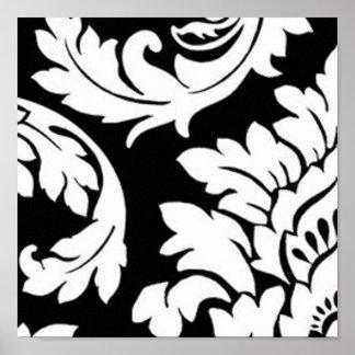 Black & White Damask Print