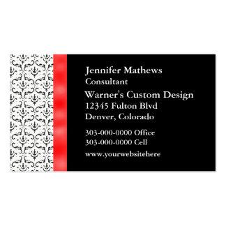 Black White Damask Professional Business Card