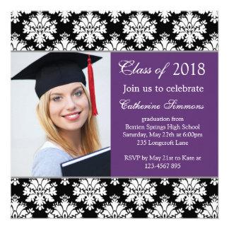 Black white damask, purple Graduation Party Announcement