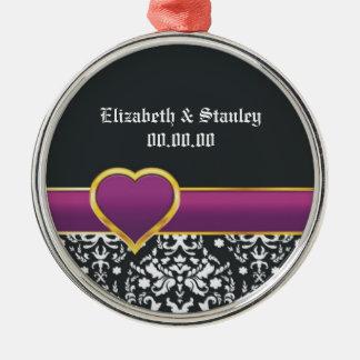 Black white damask purple heart Save the Date Ornament