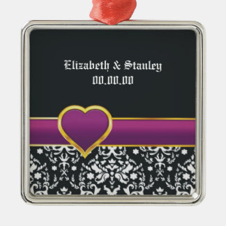 Black white damask purple heart Save the Date Christmas Ornament