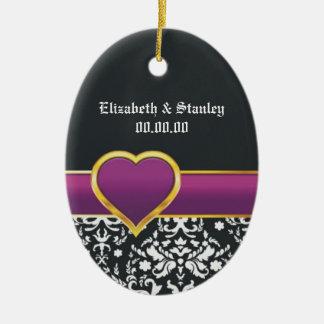 Black white damask purple heart Save the Date Christmas Tree Ornament