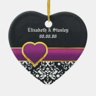 Black white damask purple heart Save the Date Ornaments