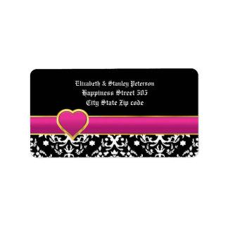 Black white damask & purple heart wedding label address label