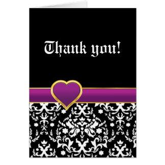 Black white damask purple heart wedding Thank You Stationery Note Card