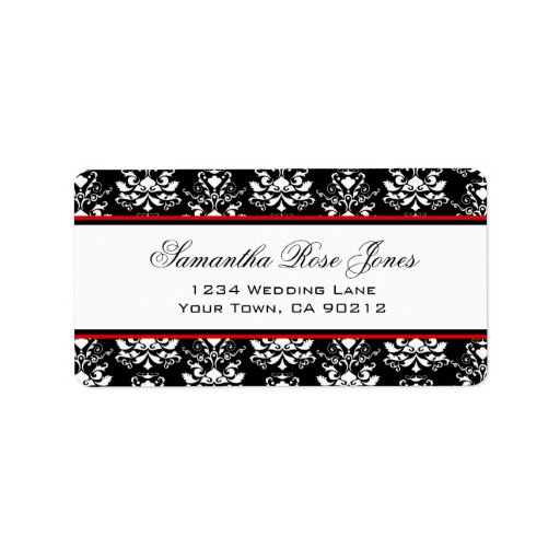 Black & White Damask Red Accent Elegant Address Personalized Address Label