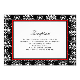 Black White Damask Red Accent Reception Card