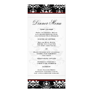 Black & White Damask Red Accent Slim Dinner Menu