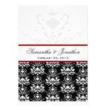 Black & White Damask Red Accent Wedding Invitation