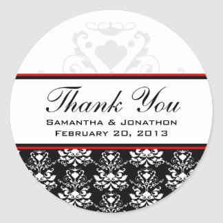 Black & White Damask Red Accent Wedding Labels