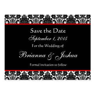 Black White Damask Red Accents Save The Date 003 Postcard