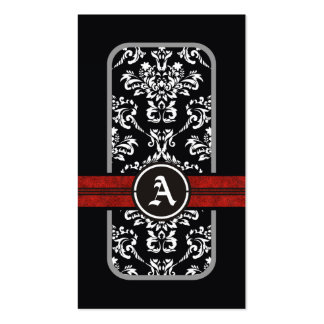 Black white damask red band monogram Double-Sided standard business cards (Pack of 100)