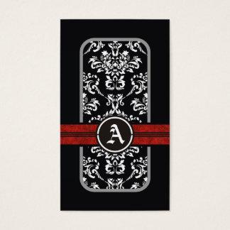 Black white damask red band monogram business card