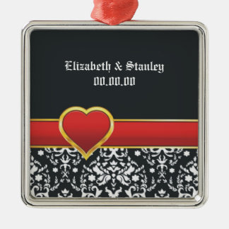 Black white damask red heart wedding Save the Date Christmas Ornaments