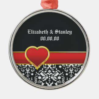 Black white damask red heart wedding Save the Date Christmas Ornament