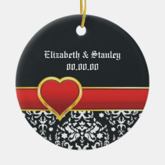 Black white damask red heart wedding Save the Date Ornaments
