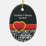 Black white damask red heart wedding Save the Date Double-Sided Oval Ceramic Christmas Ornament