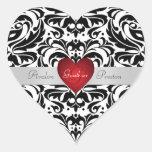 Black & White Damask Red Heart Wedding Sticker