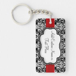 Black/White Damask Red Ribbon Keychain