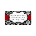 Black/White Damask Red Ribbon Personalized Address Label