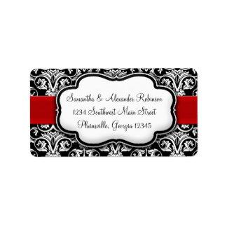 Black/White Damask Red Ribbon Address Label
