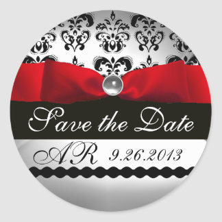 BLACK & WHITE DAMASK  RED RIBBON MONOGRAM Gemstone Classic Round Sticker