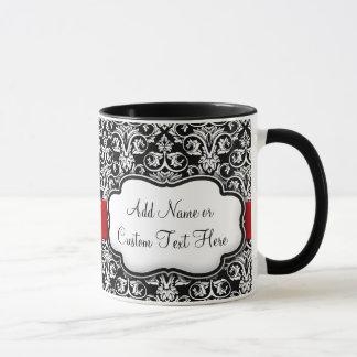 Black/White Damask Red Ribbon Mug