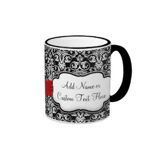 Black/White Damask Red Ribbon Ringer Coffee Mug