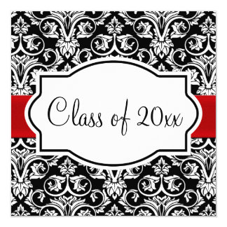 Black/White Damask Red Ribbon Square Graduation Card